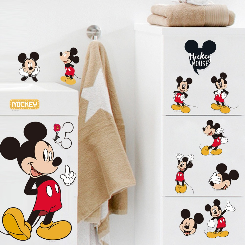 Hot Sale Mickey Mouse Minnie Mouse Bathroom Decoration Cartoon Cute Glass  Wall Stickers For Kids Rooms