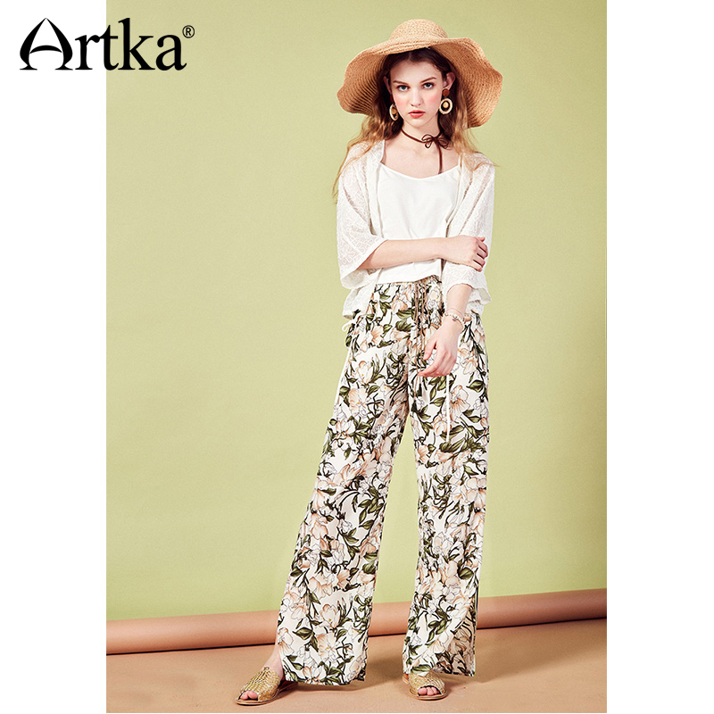ARTKA 2018 Summer New Women's Vintage Holiday Style Print Satin Chiffon Drawstring Straight Casual Thin   Wide     Leg     Pants   KA10388X