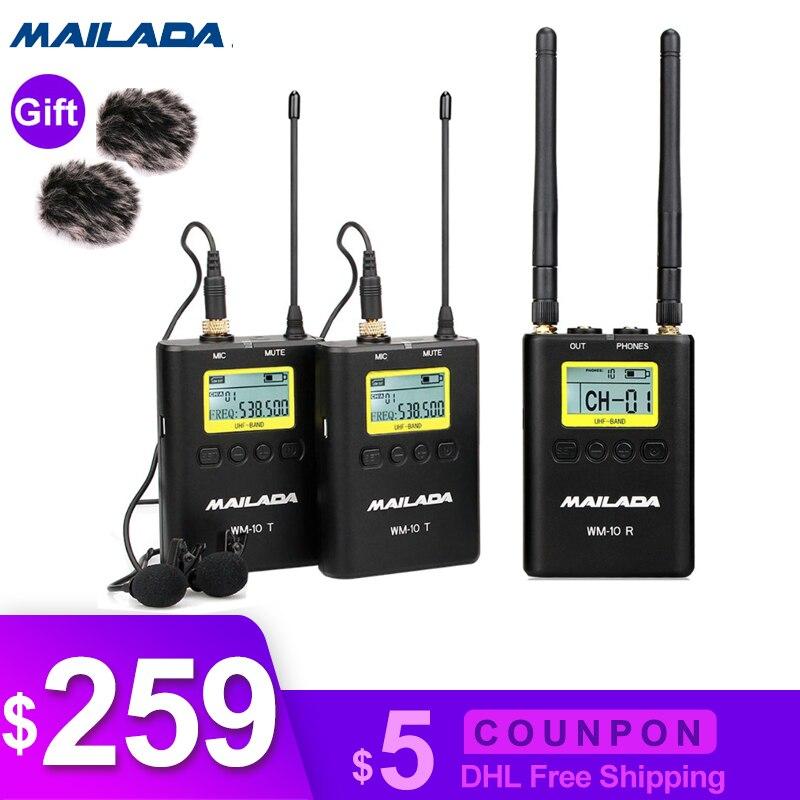 WM-10 Professionale per Microfono Wireless UHF Canale Lavalier Risvolto Mic Ricevitore Trasmettitore per fotocamere dslr sony canon nikon