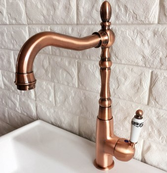 Antique Red Copper Brass Bathroom Kitchen Basin Sink Faucet Mixer Tap Swivel Spout Single Handle One Hole Deck Mounted mnf421