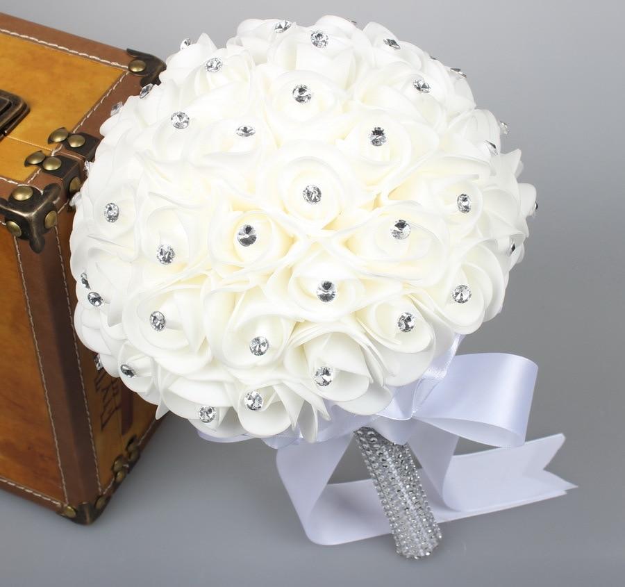 Wedding White Bouquet: 2019 Beautiful White Ivory Bridal Bridesmaid Flower