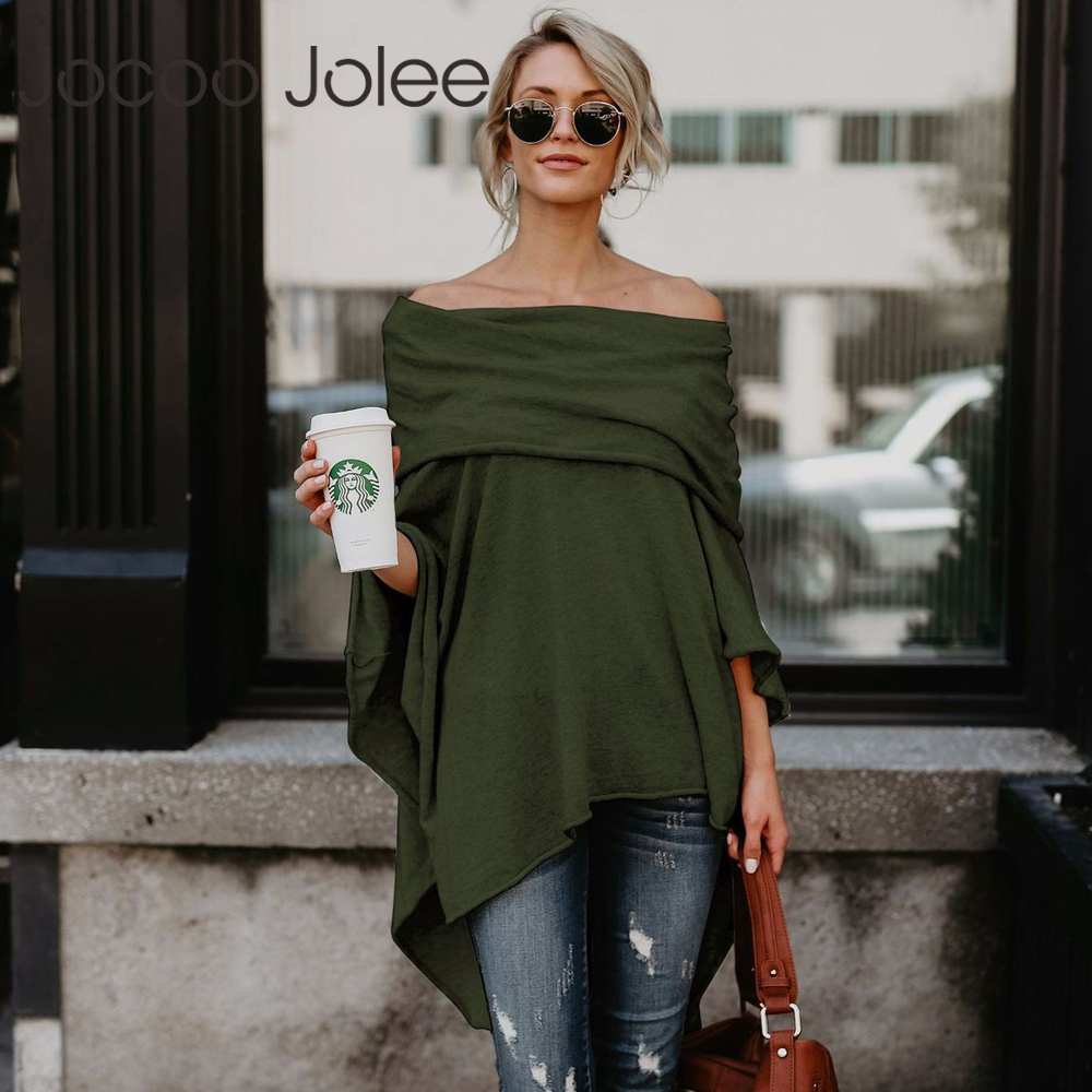Jocoo Jolee Fashion Cloak Sweater Off Shoulder Loose Slash Neck Casual Knitted Batwing Sleeve Sweater 2018 Chonpas Mujer Grande