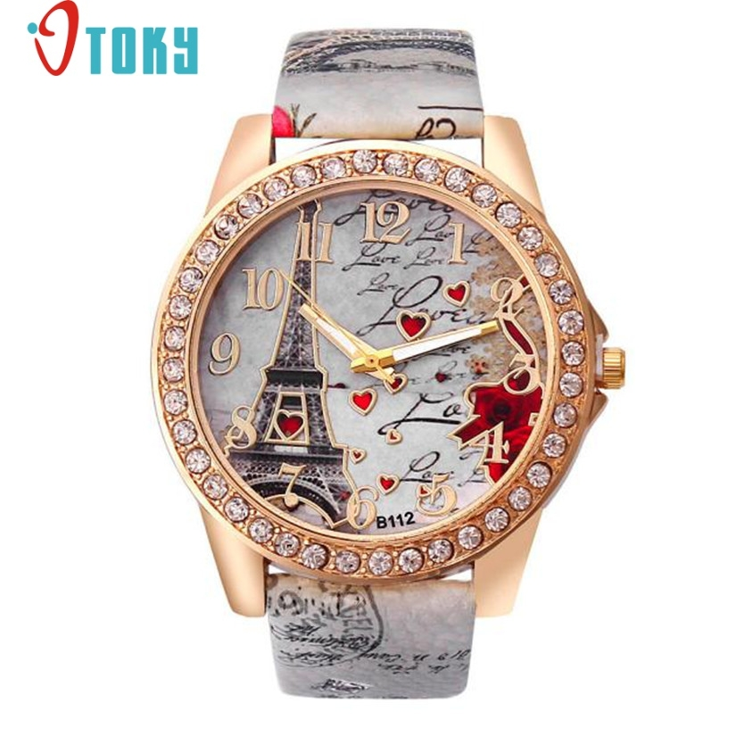 Hot hothot Fashion Diamond Eiffel Tower Pattern Leather Band Analog Quartz Vogue Wrist Watches Relojes Mujer ot5 Dropshipping hot hothot sales colorful boys girls students time electronic digital wrist sport watch free shipping at2 dropshipping li