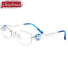 Chashma Brand Optical Glasses Rimless Titanium Super Quality Light Spectacles Fashion Eyeglasses Frame for Women