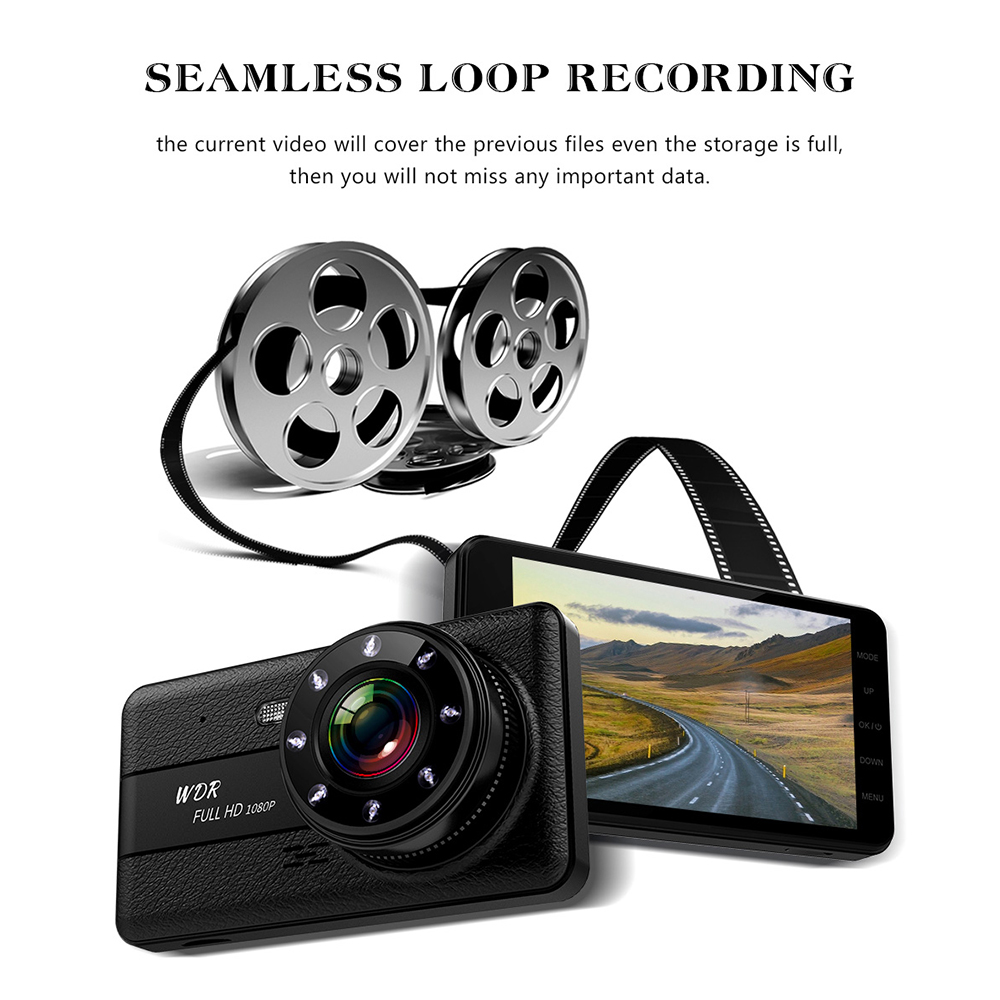 Image 3 - Car DVR 2 Cameras Lens 4.0 Inch HD Dash Camera Dual Lens With Rearview Camera Video Recorder Auto Registrator DVRs Dash Cam-in DVR/Dash Camera from Automobiles & Motorcycles