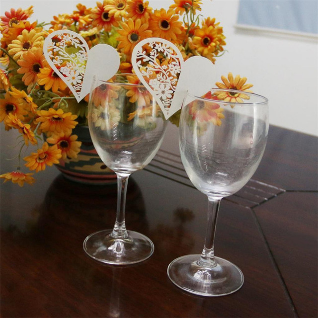 50pcs Bar Accessories Love Heart Hollow Wine Food Guest Name Place