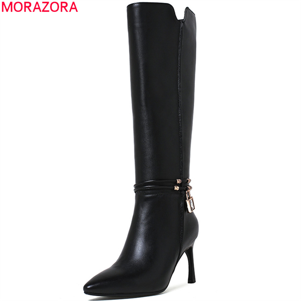 MORAZORA black new arrive women boots pointed toe ladies genuine leather+PU boots zipper cow leather knee high boots big size women ladies flats vintage pu leather loafers pointed toe silver metal design