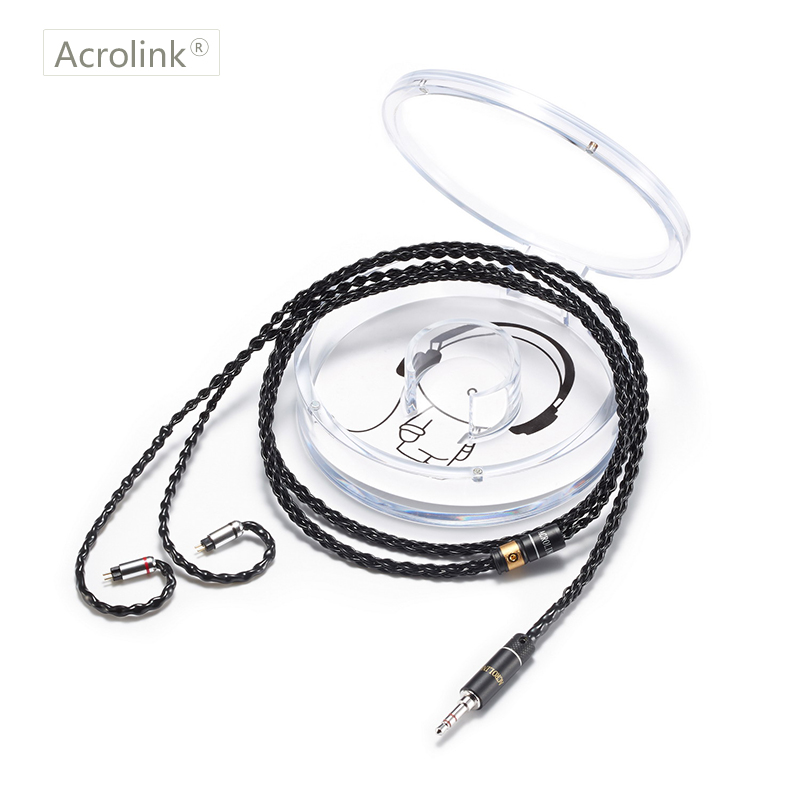 Acrolink 2Pin Connector 3.5mm Plug 8-Core 99.99% pure silver Earphone Cable For W4R SE3 SE5 UM3X With Ear Hook