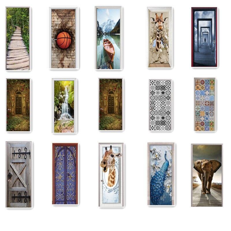 77x200 cm Creative Porte En Bois Autocollant Pour Salon BedroomLandscape PVC Auto-Adhésif Papier Peint Étanche Renouveler Peint Sticker