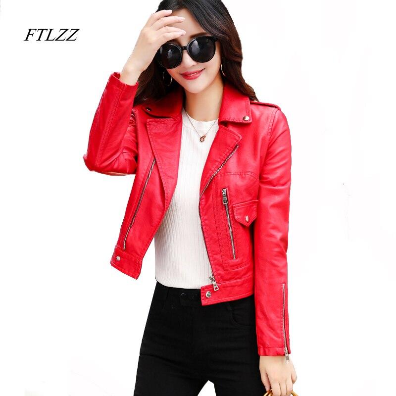 FTLZZ Women New Red Faux   Leather   Jacket Fashion Slim Long Sleeve Short Design Motorcycle Biker Punk Coats