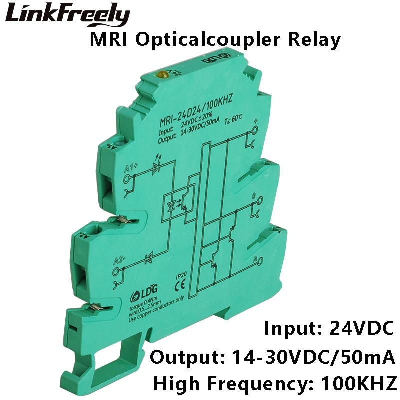 цена на MRI-24D24 2pcs 100KHZ PLC Optical Coupler Relay 24VDC 8mA Input Output 14-30VDC 50mA Interface Voltage Relay Module DIN Rail