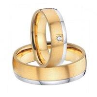 2015 красивые мужские и женские цвет золотистый titanium стали обручальные кольца обещание наборы ручной работы на заказ,