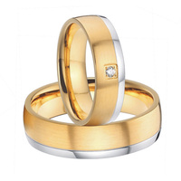 2015 beautiful mens and womens gold color titanium steel wedding bands promise rings sets handmade custom alliances