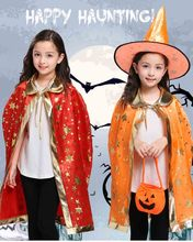 Child Halloween Witch Wizard Cosplay For Girls Boys Cloak With Pointed Hat Costume Festival Parade Carnival Party Outfit For Kid