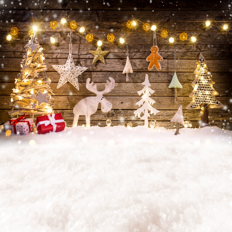 Laeacco Christmas Tree Wooden Board Star Deer Baby Photography Backgrounds Customized Photographic Backdrops For Photo Studio laeacco brick wall clock christmas tree indoor scene photography backgrounds vinyl custom camera backdrops for photo studio