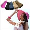 1 pieza, 2016 moda plegable vacía sombrero para el sol para las mujeres, sun caps, verano playa sombrero de paja, multicolor, envío gratis