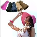 1piece,2016 fashion folding empty sun hat for women, sun caps, summer beach straw hats,multicolor, free shipping