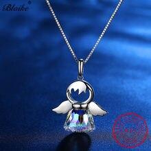 Blaike sorte fada anjo asa pingentes natural s925 prata esterlina cristal austríaco charme colares para mulheres jóias finas presente