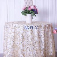 CL077A SKFLY new 2019 gorgeous free shipping fancy gold glitter wedding table cloths