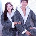 Vestes Kimono Roupão Real Venda Nova A Moda De 2016 Outono Vestido Homens E Mulheres casais Com Espessura Leisurewear Coral Com Capuz Longo