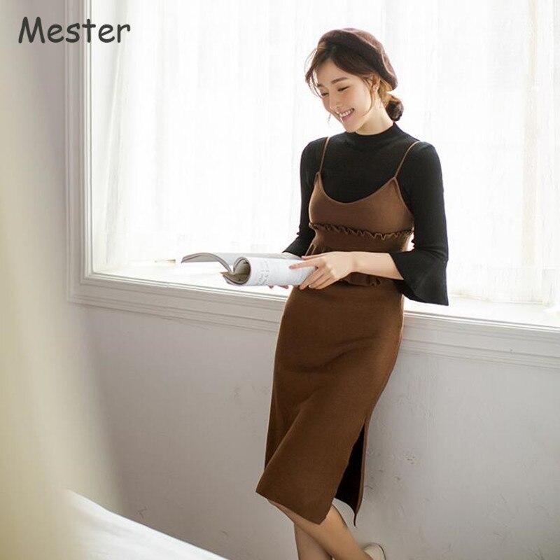 Dress Qualité Avec Split Automne Haute Sangle Femmes Spaghetti Café Black coffee Peplum Tricoté Printemps noir Volants Mode Coréenne Sides oWeBCxEQrd