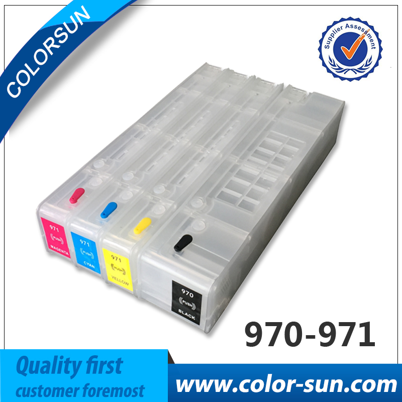 For HP970 Hp 970 971 Auto reset chips Refillable ink cartridges Empty for HP X451dn X551dw X476dn X576dw with ARC chips 5pk full ink refillable cartridges suit for bci325 bci326 suit for canon ip4830 ip4930 ix6530 mx883 mg5130 6230 with arc chips