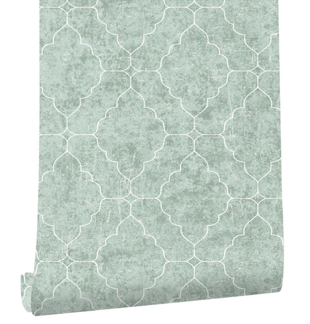 HaokHome graphique treillis Non-tissé papier peint fumée vert/blanc/Lt. or salon chambre cuisine maison mur décoration