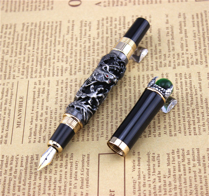 JINHAO fountain pen unique design High quality dragon pens luxury business gift school office supplies send father friend 002 black jinhao free shipping fountain pen and bag high quality man women pens business school gift send friend father 031