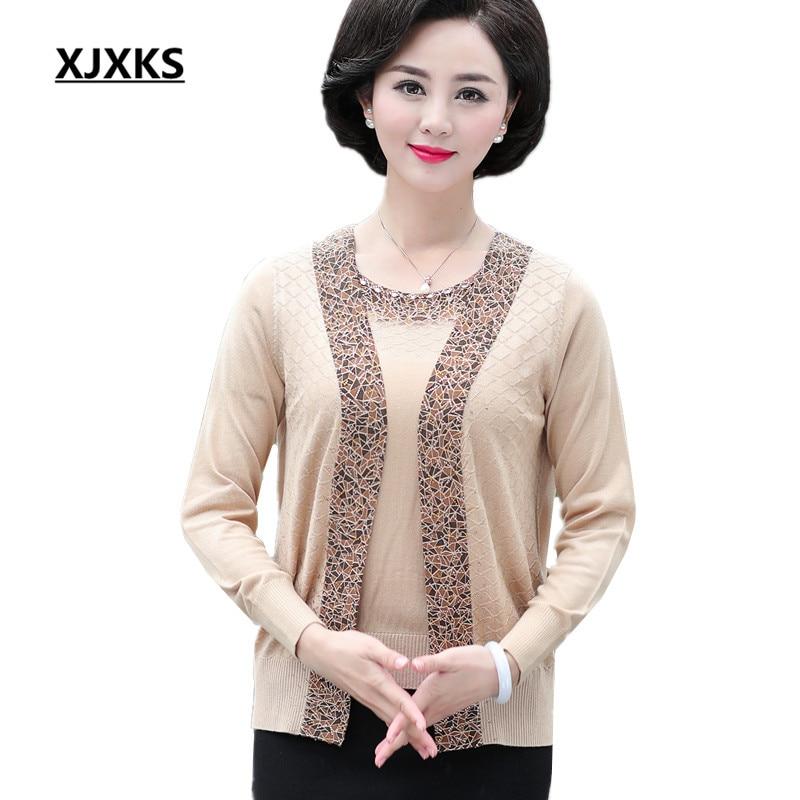 XJXKS Women true two piece knit cardigan short sleeved tops 2018 autumn new fashion beaded loose