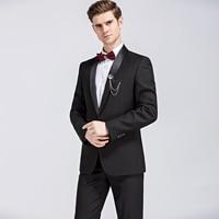 High quality 2017 Brand Clothing Men Suits Classic Shawl Collar Designed Men's Royal Black Tuxedo Suits(Jacket+Pants) 2 Sets