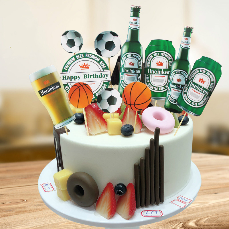 1 Set Diy Football Basketball Cola Beer Cake Ice Cream Cupcake Toppers Picks Boyfriend Dad Father Birthday Party Dessert Decor Cake Decorating Supplies Aliexpress
