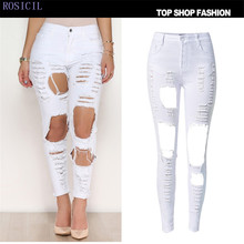 ROSICIL pants high waist jeans denim 2017 new cotton slim tight designer jeans pant for women skinny Elastic waist TOP009-W#