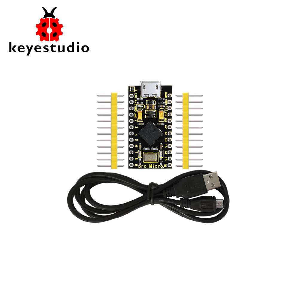 Keyestudio PRO MICRO ATmega32U4 3.3V/16MHz Development Board With 2 Row Pin Header+1M USB Cable For Leonardo(Pin Header Unwelde)