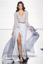 2016 Zuhair Murad Design Abendkleid Voller Kristall Perlen V-ausschnitt Langarm Kleider Cocktail Party Robe De Soiree MY1108-12
