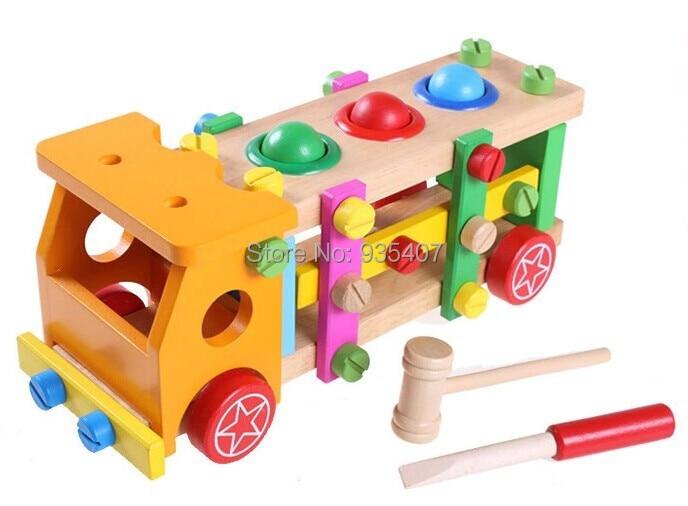 Új ! Az autót szétszerelő és összeszerelő fából készült játékok, anyák és csavarok megütnek a játékkocsi szerelési eszközeihez
