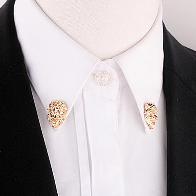 238fd63dea US $1.44 |Unisex 1 Pair Men Jewelry Collar Pin Gold Tone Lion Head Collar  Tips Brooch Suit Shirt Accessory For Women Gift-in Brooches from Jewelry &  ...