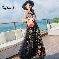 CNsamch Beach Tunic High Quality Top Brand Black Embroidery Net Yarn Sling Dress Party Travel Summer