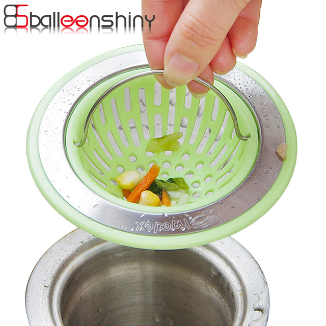 BalleenShiny Handle Kitchen Bathroom Sink Strainer Waste Plug Drain Garbage  Stopper Filter Basket Net Drainer Basin