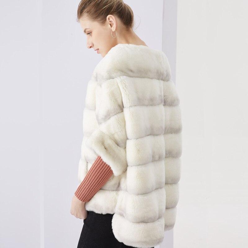 Verdadeiro casaco de pele batwing manga curta mulheres casaco de pele de coelho rex casaco de pele de coelho