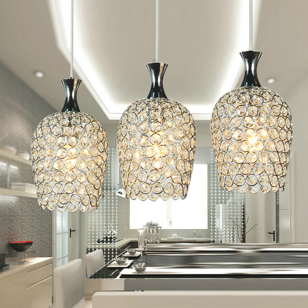 Mamei free shipping modern 3 lights crystal pendant for Kitchen island lighting pendants
