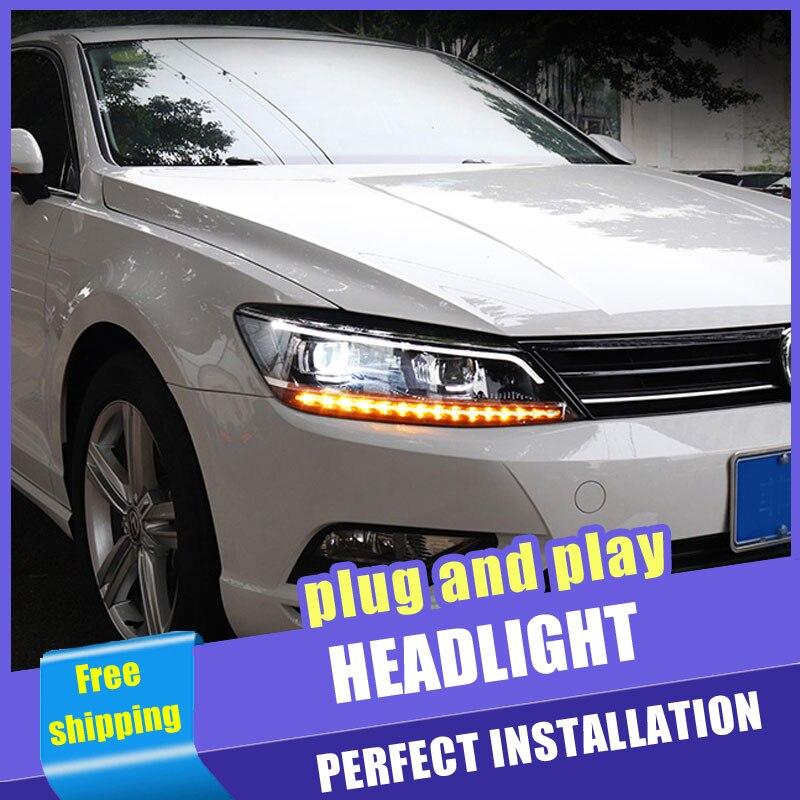 2 pièces Voiture Style LED phares pour Volkswagen Lamando 2015-2019 pour lampe frontale LED DRL Lentille Double Faisceau H7 Xénon CACHÉ bi xénon lentille