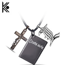 Anime Death Note Black Gold Metal Cross Logo Pendant Notebook Necklace