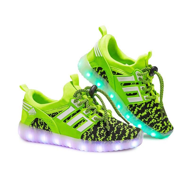 Tamaño 25-37 niños Luminous zapatillas primavera transpirable calzado deportivo niños niñas cargador USB Led zapatos ligeros para los niños buty led