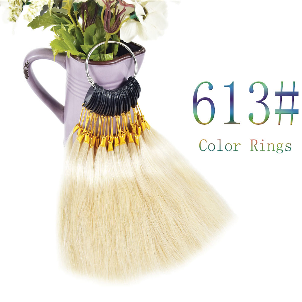 613# 100 Human Virgin Hair Color Rings 30pcs/set Salon Hair Color Sample Hair Dyeing Rings Hairdresser Wig Accessory Supply image