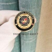 27 мм Delux тамплиера большой Lapel pin-масонский вольных каменщиков круглый эмаль брошь и булавки кладки металлический значок бесплатная каменщи...