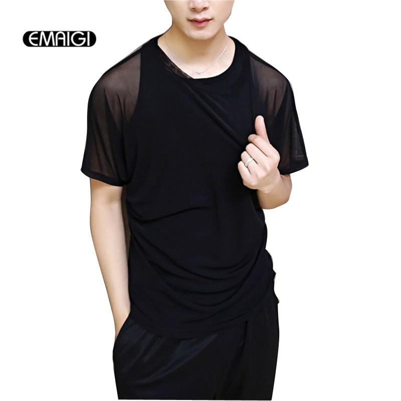 Gothic Men Hollow Thin Short Sleeve T shirt Streetwear Fashion Punk Mesh Tee Shirt Slim Fit