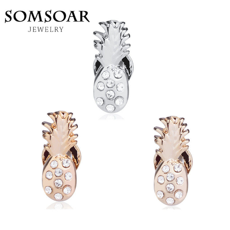 Somsoar Jewelry Pave Pineapple Charms DIY Keys fit Leather wrappable Mesh Stainless steel Bracelet 10pcs/lot