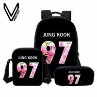 3 PCS SET VEEVANV BTS Letter Printing Backpacks Children Bookbag Girls School Bag Fashion Mochila Boys
