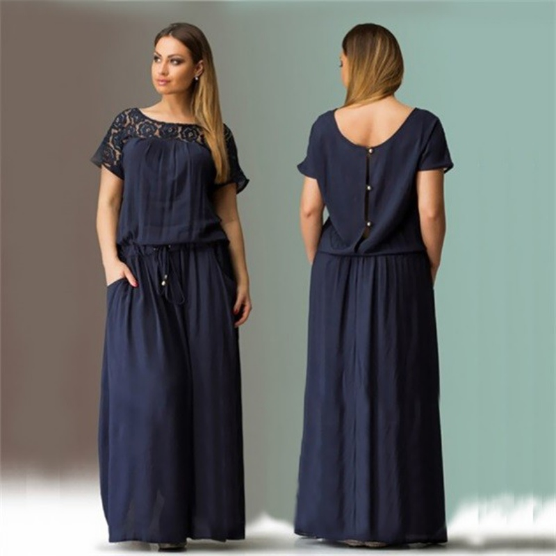 L-6XL Short Sleeve Lace Summer Dress Big Sizes New Women Summer Plus Size Long Dress Maxi Party Dress Vintage Vestidos 7644