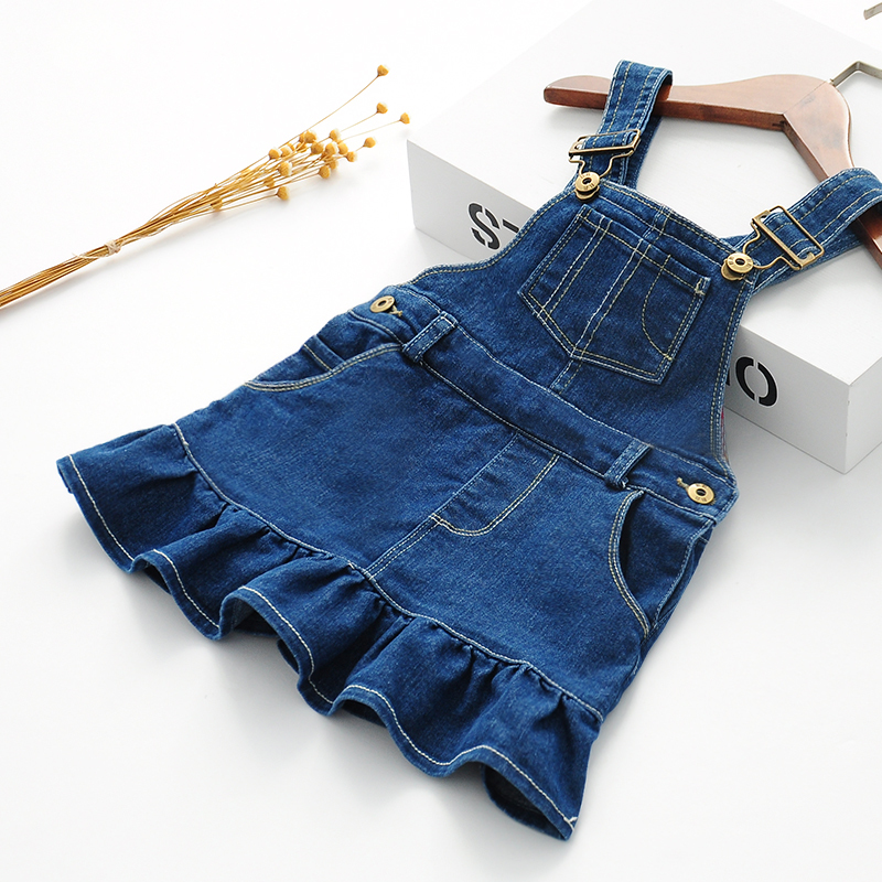 2018 New Spring Sundress Girls Fashion Denim Sundress Baby Strap Dress Kids Suspender Denim Dress Child All-match Sundress 2017 new arrival baby girls denim sundress girls fashion sundress kids suspender denim dress child casual sundress